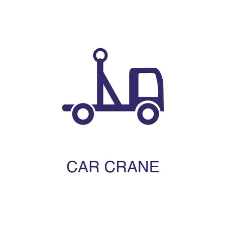Crane truck element in flat simple style on white background. Crane truck icon, with text name concept template Banque d'images - 134449653