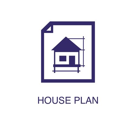 House plan element in flat simple style on white background. House plan icon, with text name concept template Illustration