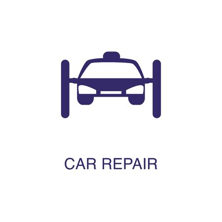 Car repair element in flat simple style on white background. Car repair icon, with text name concept template Illustration