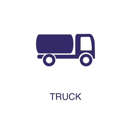 Truck element in flat simple style on white background. Truck icon, with text name concept template Banque d'images - 134449669