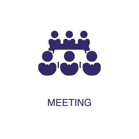 Meeting element in flat simple style on white background. Meeting icon, with text name concept template