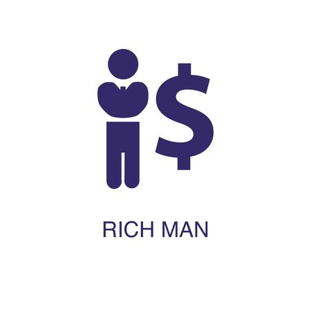Rich man element in flat simple style on white background. Rich man icon, with text name concept template Banque d'images - 134449679