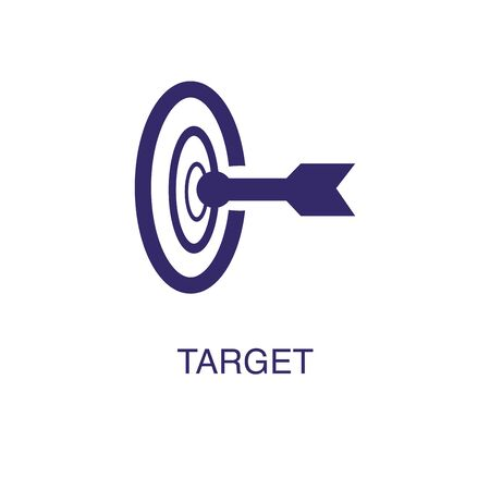 Target element in flat simple style on white background. Target icon, with text name concept template