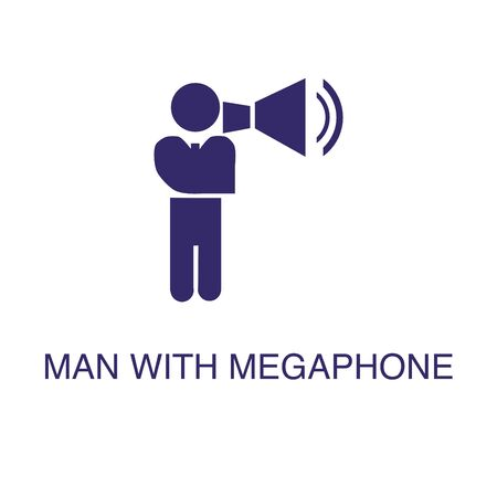 Man with megaphone element in flat simple style on white background. Man with megaphone icon, with text name concept template Illustration