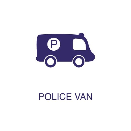 Police van element in flat simple style on white background. Police van icon, with text name concept template