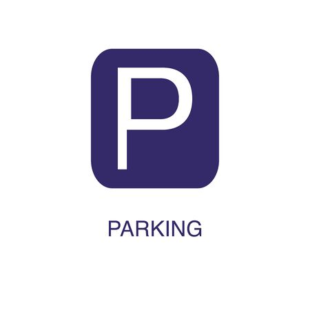 Parking element in flat simple style on white background. Parking icon, with text name concept template