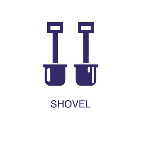 Shovel element in flat simple style on white background. Shovel icon, with text name concept template Banque d'images - 134449684