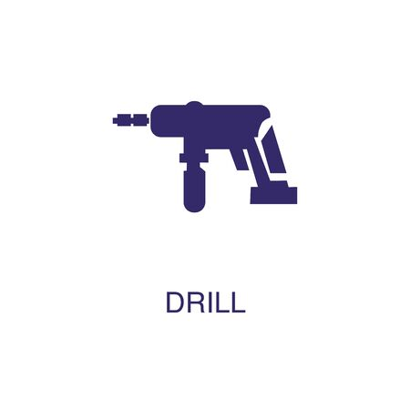 Drill element in flat simple style on white background. Drill icon, with text name concept template Illustration