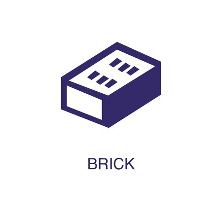 Brick element in flat simple style on white background. Brick icon, with text name concept template Illustration