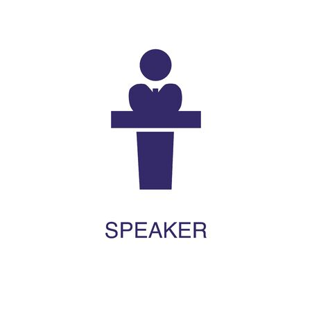 Speaker element in flat simple style on white background. Speaker icon, with text name concept template