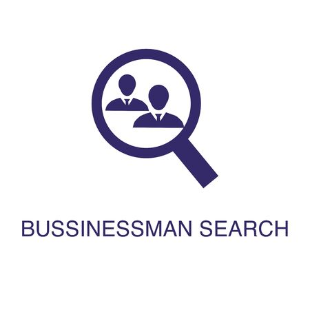Businessman search element in flat simple style on white background. Businessman search icon, with text name concept template