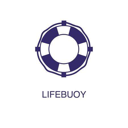 Lifebuoy element in flat simple style on white background. Lifebuoy icon, with text name concept template Illustration
