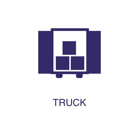 Truck element in flat simple style on white background. Truck icon, with text name concept template Illustration