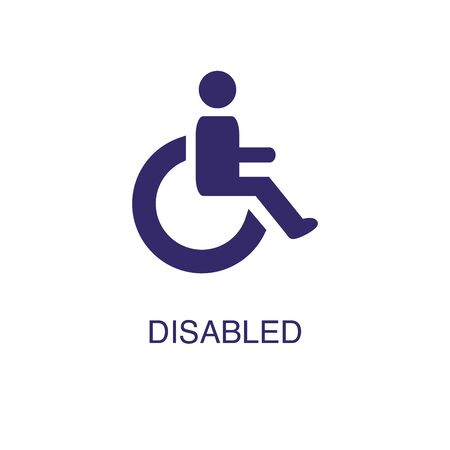 Disabled element in flat simple style on white background. Disabled icon, with text name concept template