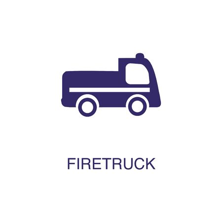 Firetruck element in flat simple style on white background. Firetruck icon, with text name concept template Banque d'images - 134449697