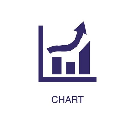 Chart element in flat simple style on white background. Chart icon, with text name concept template Illustration