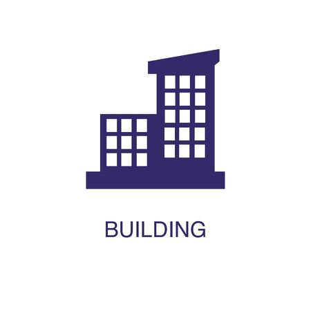 Building element in flat simple style on white background. Building icon, with text name concept template