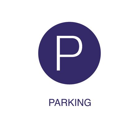 Parking element in flat simple style on white background. Parking icon, with text name concept template Banque d'images - 134449701
