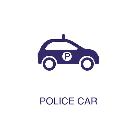 Police car element in flat simple style on white background. Police car icon, with text name concept template