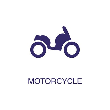 Motorcycle element in flat simple style on white background. Motorcycle icon, with text name concept template