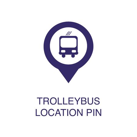 Trolleybus location pin element in flat simple style on white background. Trolleybus location pin icon, with text name concept template Banque d'images - 134449725