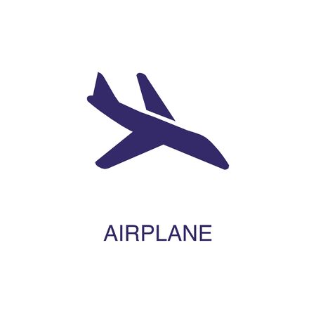 Airplane element in flat simple style on white background. Airplane icon, with text name concept template Banque d'images - 134449726