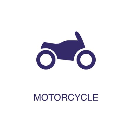 Motorcycle element in flat simple style on white background. Motorcycle icon, with text name concept template Banque d'images - 134449728