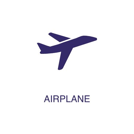 Airplane element in flat simple style on white background. Airplane icon, with text name concept template Banque d'images - 134449732