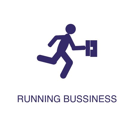 Running businessman element in flat simple style on white background. Running businessman icon, with text name concept template Banque d'images - 134449769