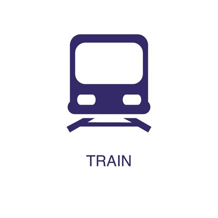 Train element in flat simple style on white background. Train icon, with text name concept template Banque d'images - 134449770