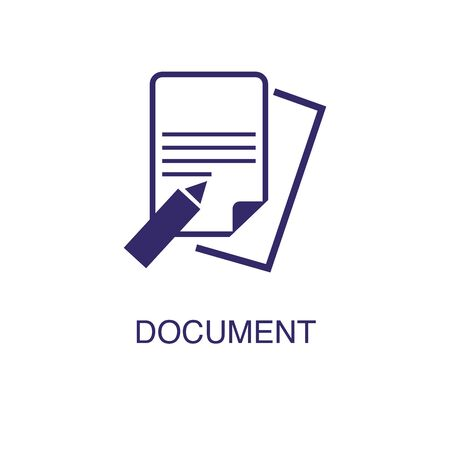 Document element in flat simple style on white background. Document icon, with text name concept template Banque d'images - 134449772