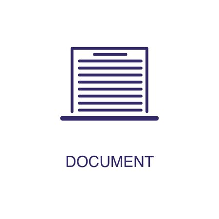 Document element in flat simple style on white background. Document icon, with text name concept template Banque d'images - 134449787