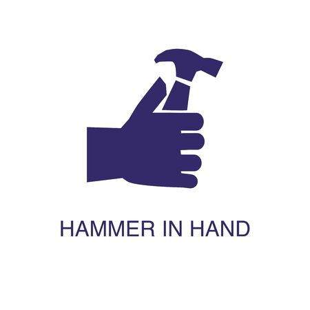 Hammer in hand element in flat simple style on white background. Hammer in hand icon, with text name concept template