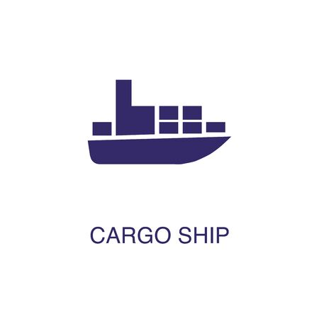 Cargo ship element in flat simple style on white background. Cargo ship icon, with text name concept template