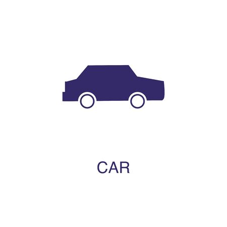 Car element in flat simple style on white background. Car icon, with text name concept template Illustration