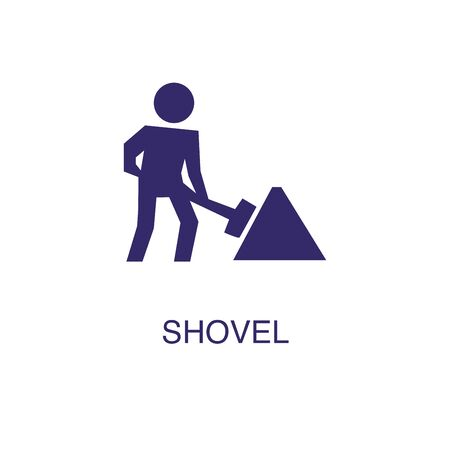 Shovel element in flat simple style on white background. Shovel icon, with text name concept template Illustration