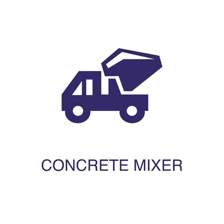 Concrete mixer element in flat simple style on white background. Concrete mixer icon, with text name concept template Banque d'images - 134449855