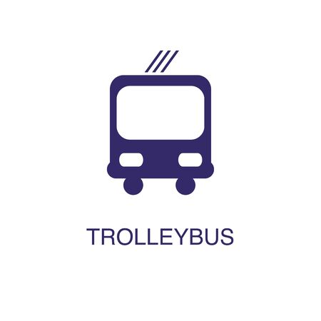 Trolleybus element in flat simple style on white background. Trolleybus icon, with text name concept template Illustration