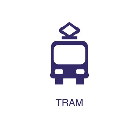 Tram element in flat simple style on white background. Tram icon, with text name concept template Illustration