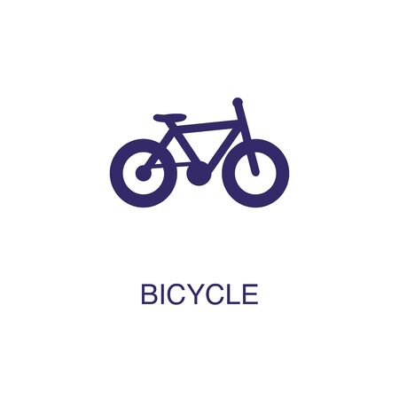 Bicycle element in flat simple style on white background. Bicycle icon, with text name concept template Banque d'images - 134449908