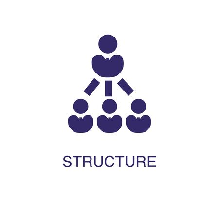 Structure element in flat simple style on white background. Structure icon, with text name concept template