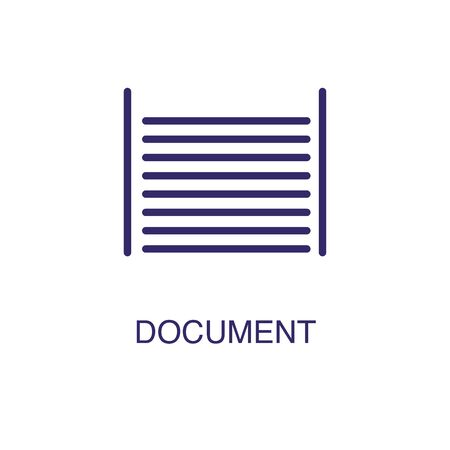 Document element in flat simple style on white background. Document icon, with text name concept template