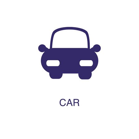 Car element in flat simple style on white background. Car icon, with text name concept template Banque d'images - 134449997