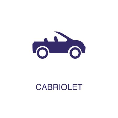 Cabriolet element in flat simple style on white background. Cabriolet icon, with text name concept template