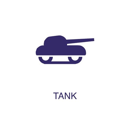 Tank element in flat simple style on white background. Tank icon, with text name concept template