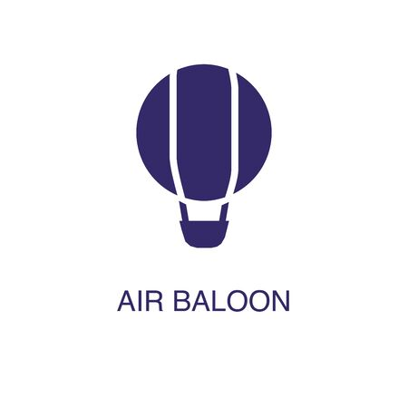Air balloon element in flat simple style on white background. Air balloon icon, with text name concept template