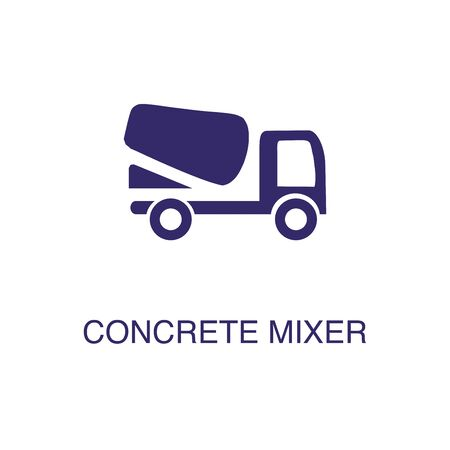Concrete mixer element in flat simple style on white background. Concrete mixer icon, with text name concept template