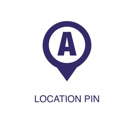 Location pin element in flat simple style on white background. Location pin icon, with text name concept template