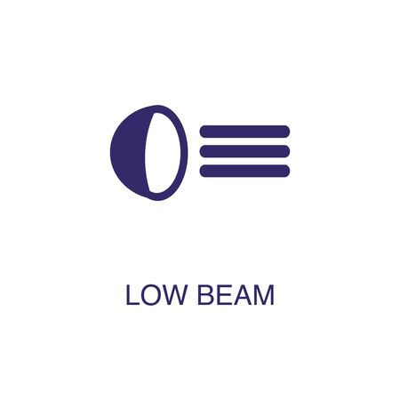 Low beam element in flat simple style on white background. Low beam icon, with text name concept template