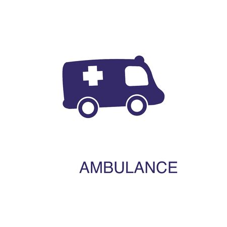 Ambulance element in flat simple style on white background. Ambulance icon, with text name concept template Banque d'images - 134450042